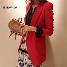 Slim Long <b>Women Blazer</b> Red Color 2019 <b>Spring Suit Jacket</b> ...