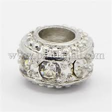 Wholesale Alloy Glass <b>Rhinestone</b> European Beads, Large Hole ...