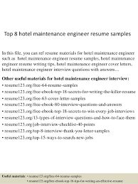 top  hotel maintenance engineer resume samplestop  hotel maintenance engineer resume samples in this file  you can ref resume materials