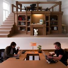 nothings all cardboard office shaping up everything out of nothing cardboard office