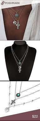 <b>New 3Pcs/set Vintage</b> Hollow Earth Cross Necklace Pretty 3 Pcs/set ...