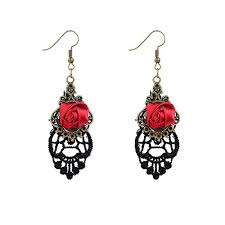 YAZILIND Retro <b>Style</b> Lace Dangle Red <b>Rose Flower</b> Earring <b>Alloy</b> ...