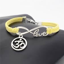 Hot Make Hand <b>Woven</b> Yellow Leather Rope Infinity Love <b>Buddhist</b> ...