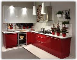 shape red white kitchen cabinets