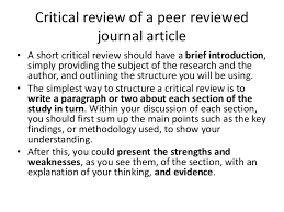 Critical writing SlideShare     logical sequence      Critical review of a peer reviewed journal article