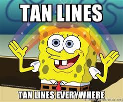 Tan lines Tan lines everywhere - spongebob rainbow   Meme Generator via Relatably.com
