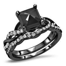 Noori 14k <b>Black Gold 1</b> 3/5ct TDW Black Diamond Cushion Bridal ...