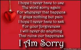 I hope I never have to use The word sorry again For whenever that ...
