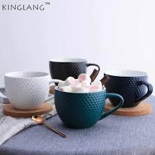 1PC KINGLANG <b>Nordic</b> Creative Hand Painted Blue Line <b>Coffee</b> ...