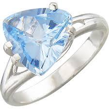 <b>Кольцо с 1 топазом</b> из серебра, классика (1 камней, серебро 925 ...