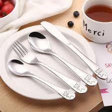 <b>4pcs</b>/<b>set Baby Teaspoon Spoon</b> Food Feeding Fork Knife Utensils ...