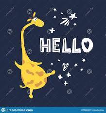 Postcard Hello Funny <b>Giraffe</b>. <b>Printing</b> Of Fabric, Paper Stock ...