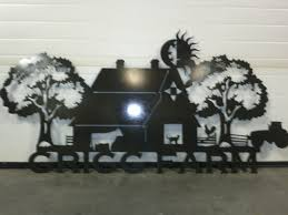 tree scene metal wall art: view full size farm scene double tree