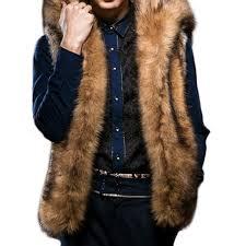 Mens Faux Fur Big Hooded Coat <b>Winter Thickened Warm Fashion</b> ...