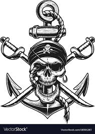 Pirate <b>skull</b> emblem with swords <b>anchor</b> Royalty Free Vector   Pirate ...