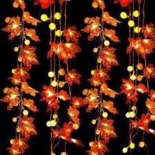 2 Pack 60 LED Maple Leaf & Pumpkin Fall Garland ... - Amazon.com
