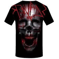 Online Shop <b>KYKU Skull Tshirt</b> Men Black Blood T-shirt Anime ...