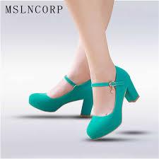 <b>Plus Size 34 48</b> New Women Thick High Heels Pumps Shoes <b>Ankle</b> ...
