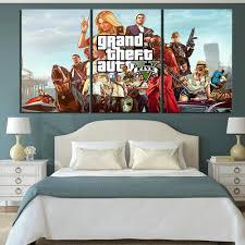 <b>3 Piece</b> GTA 5 Game Poster <b>HD</b> Cartoon Picture <b>Print</b> Canvas Art ...