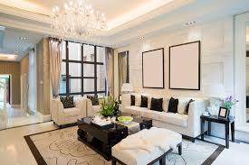 luxury home living room with tray ceiling white couches and chandelier beautiful living rooms living room