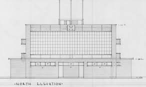 northern elevation close up from original architectural drawings perry lakes athletic stadium results board and bayswater post office