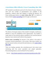 careerfutura offers effective career counselling after th pdf there are leading examples like careerfutura com that secure easy interfacing the career specialists and subject specialists
