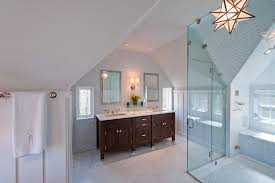 impressive double wall sconce with two sinks next to white floor tile and sloped ceiling bathroom pendant lighting double vanity sloped ceiling