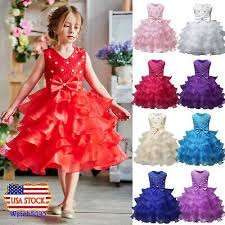 Kids Baby <b>Girl</b> Princess <b>Dress Wedding Bridesmaid Pageant</b> Party ...