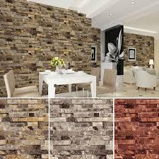 <b>Vinyl</b> Vintage Faux <b>Brick</b> Stone <b>3D Wallpaper</b> for Home Bathroom ...