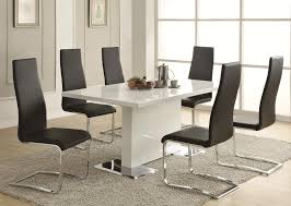 metal dining room chairs chrome: modern dining white table with chrome metal base by