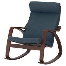 POÄNG <b>Rocking chair</b>, <b>brown</b>/Hillared dark blue