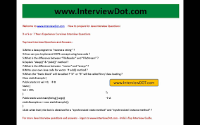 years experience top core java interview questions part  3 years experience top core java interview questions part 1