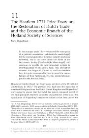 the haarlem prize essay on the restoration of dutch trade and the rise of economic societies in the eighteenth century