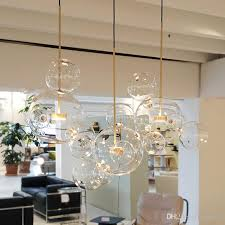 JESS <b>Clear glass ball living</b> room chandeliers art deco bubble lamp