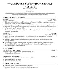 warehouse experience resume   warehouse supervisor resume samples    warehouse supervisor resume samples