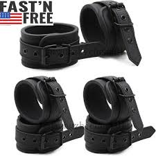 Leather <b>Handcuffs</b> & <b>Ankle Cuffs Set</b> Hands Wrist BDSM Bondage ...