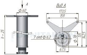 <b>Опора для стола</b>, <b>D60</b>, H1100+25 мм, хром, 1шт, X4RG 1100 ...