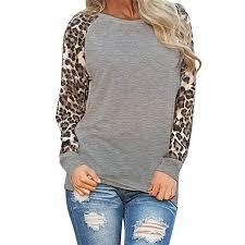 <b>Women</b> Long Sleeve <b>Blouses</b> Round Neck <b>Leopard</b> Print <b>Shirts</b> ...