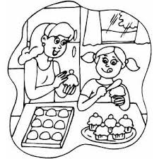 Small Picture In The Kitchen Coloring Pages