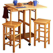 3 piece space saving breakfast set furniture wooden natural dining compact solid breakfast set furniture
