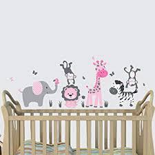 Mini <b>Pink</b> Jungle Animal Wall Decals, Jungle Mural, <b>Elephant</b>, <b>Lion</b>