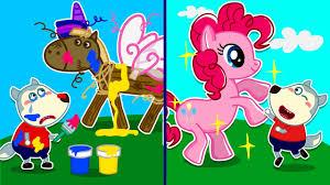 Baby Wolf Makes <b>Colorful Unicorn</b> - Switch Up Challenge & Pretend ...
