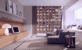 contemporary studio apartment office design with large dark brown mediterranean style finish solid wood cubicle bookshelves bookcase book shelf library bookshelf read office