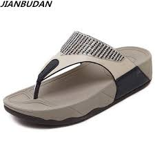 <b>JIANBUDAN</b> Women's <b>flat bottom</b> wedge summer beach shoes non ...