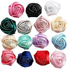 Chenkou Craft 30pcs Assorted <b>Satin Ribbon</b> Rose Flowers Bows ...