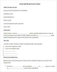 manufacturing resume template 26 samples examples format this safety manager resume template highlights how to put in words your career goal out getting too elaborate followed by a neat presentation of