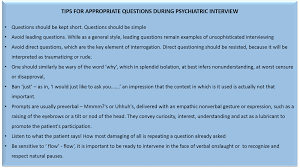 tipps interview skills and the art of history taking tips for interview tips for appropriate questions during psychiatric interview