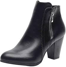 TRENDINAO <b>Women</b> Leather Ankle Boots <b>Winter Vintage</b> Chunky ...