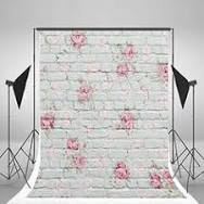 5x6.5ft White Brick Wall Photography Background Pink Flowers ...