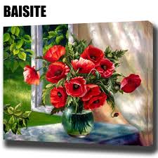 BAISITE <b>DIY Framed Oil Painting</b> By Numbers Red Flowers Window ...